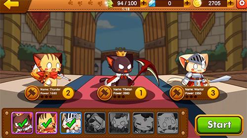 RPG Roi des chats: Batailles avec les chiens pour smartphone