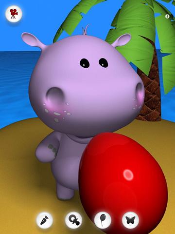 Bebê de hipopótamo falando para iPhone