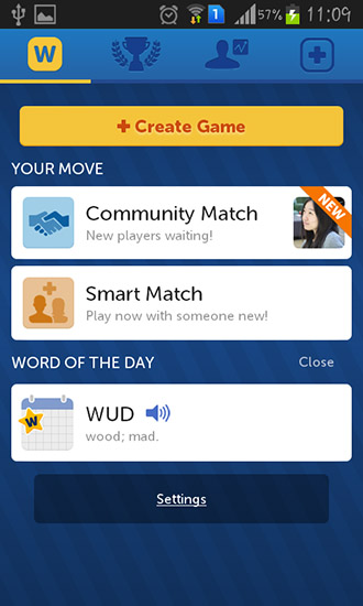 Logikspiele New words with friends für das Smartphone