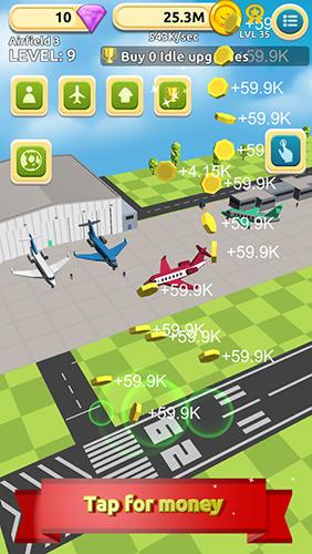 Arcade Airfield tycoon clicker für das Smartphone