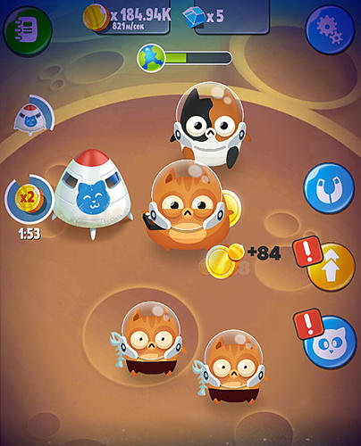 Space cat evolution: Kitty collecting in galaxy für Android