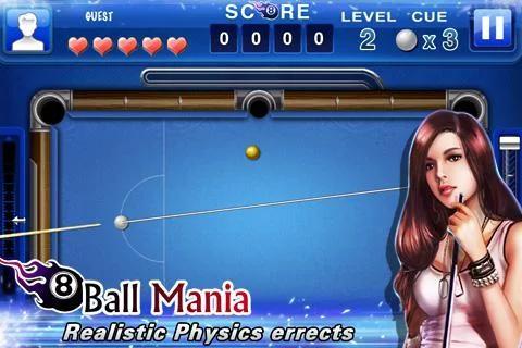 Sportspiele 8 ball mania für das Smartphone