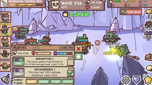 Juegos de arcade Idle hero defense: Fantasy defense para teléfono inteligente