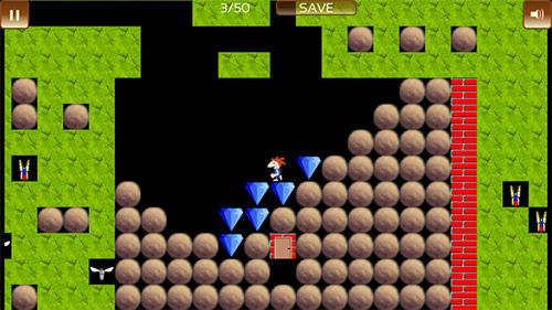 Скриншот The gem hunter: A classic rocks and diamonds game на андроид