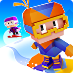 Blocky snowboarding icon