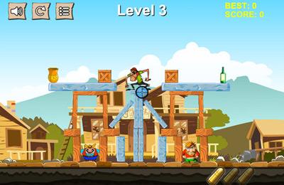 Tour de cowboy Pixel: frapper et détruire la structure pour iPhone gratuitement