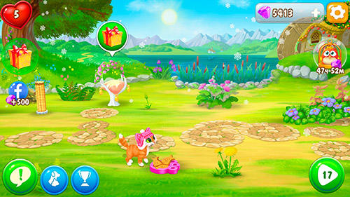 Arcade-Spiele Garden pets: Match-3 dogs and cats home decorate für das Smartphone