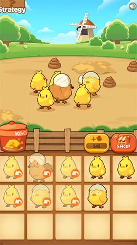 Arcade-Spiele Chicken farm tycoon: Idle merge game für das Smartphone