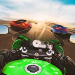 Bike rider mobile: Moto race and highway traffic Symbol