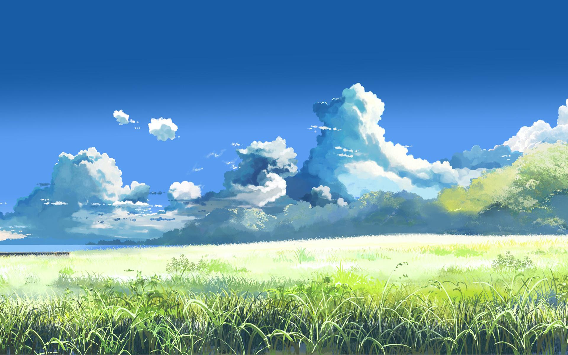 10729 скачать обои Пейзаж, Трава, Небо, Облака, Рисунки - заставки и картинки бесплатно