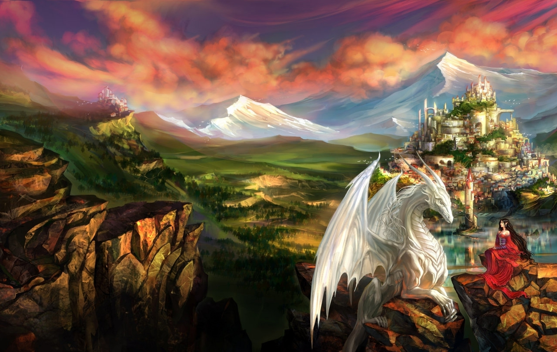 87874 Screensavers and Wallpapers Lock for phone. Download Landscape, Fantasy, Mountains, Lock, Dragon, Princess pictures for free