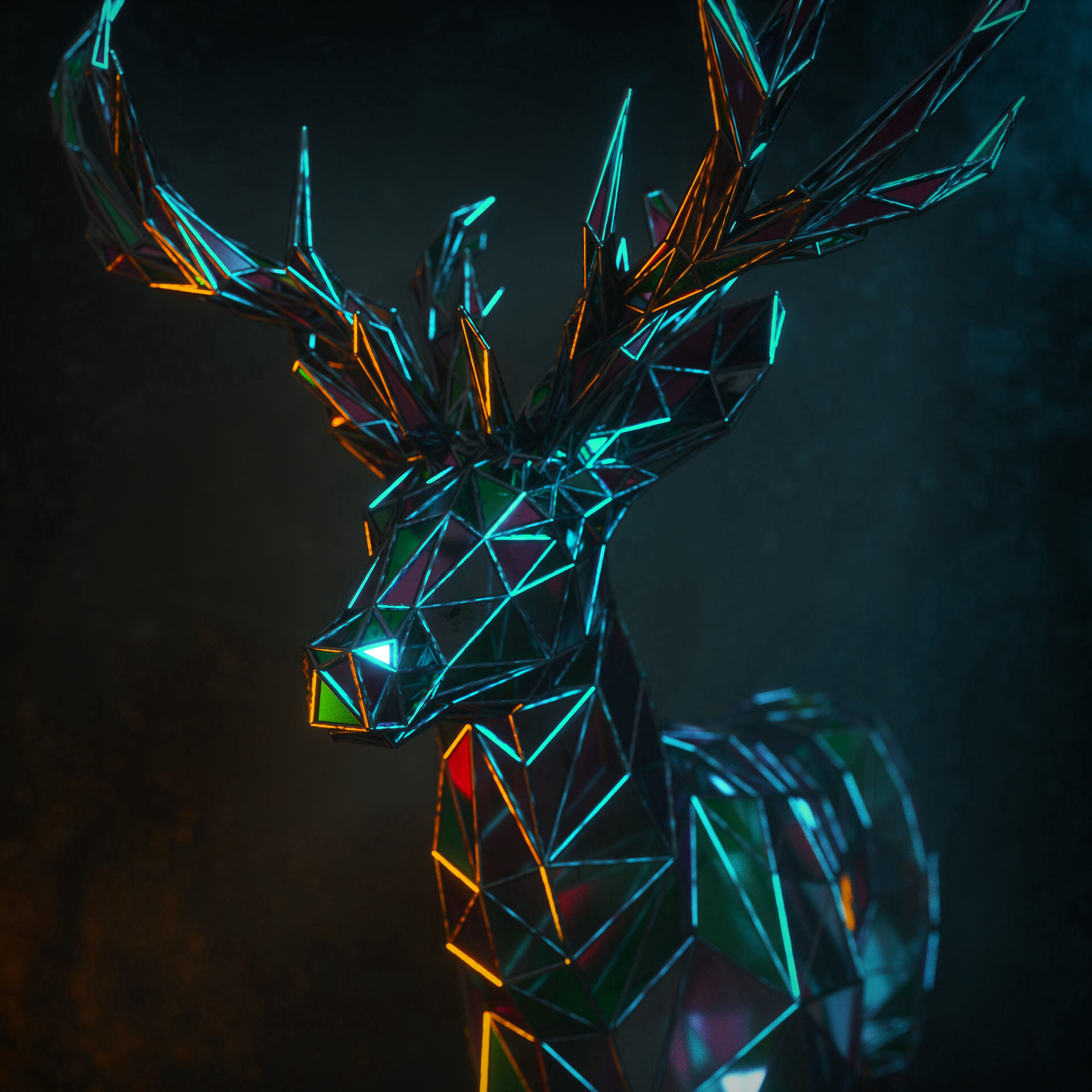 83536 download wallpaper Deer, 3D, Polygon, Figure, Geometric screensavers and pictures for free