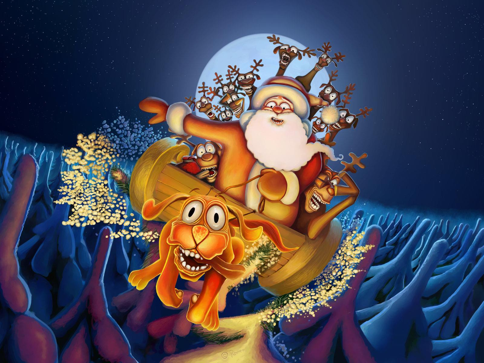 14085 скачать обои Юмор, Новый Год (New Year), Собаки, Санта Клаус (Santa Claus), Рождество (Christmas, Xmas), Рисунки - заставки и картинки бесплатно