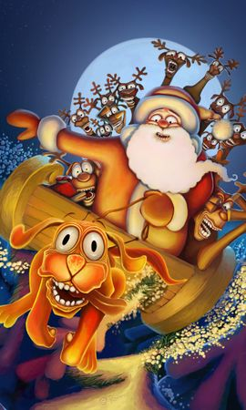 14085 download wallpaper Funny, Dogs, New Year, Santa Claus, Christmas, Xmas, Pictures screensavers and pictures for free
