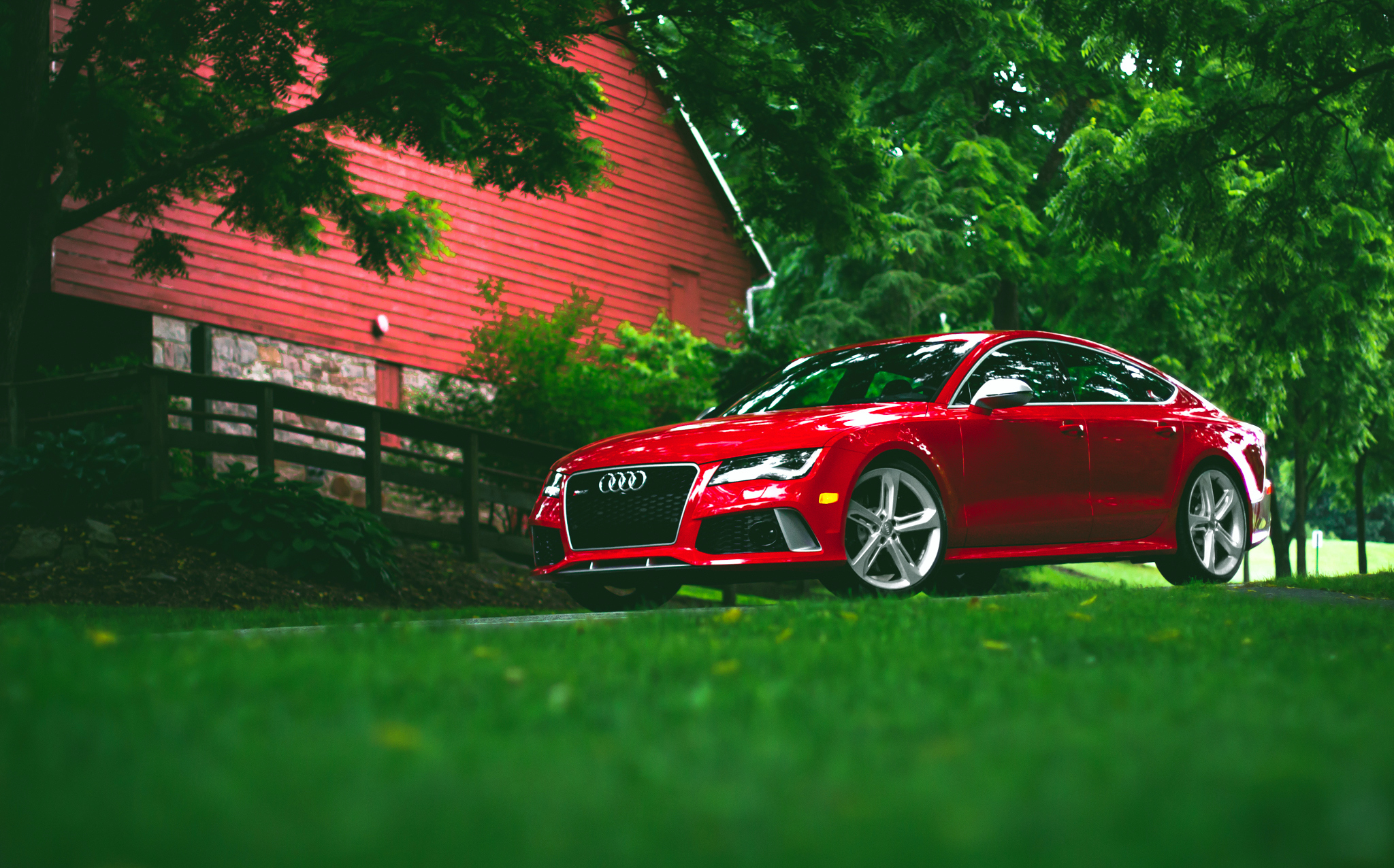 86693 скачать обои Трава, Ауди (Audi), Вид Сбоку, Тачки (Cars), Красный, Rs7 - заставки и картинки бесплатно