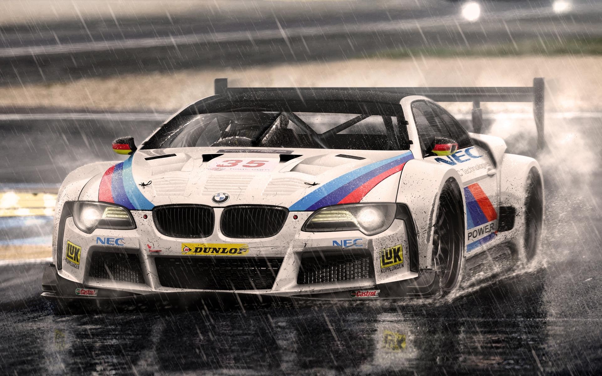 28499 скачать обои Спорт, Транспорт, Машины, Бмв (Bmw), Дождь, Гонки - заставки и картинки бесплатно