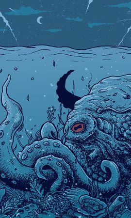74827壁紙のダウンロードベクター, ベクトル, たこ, 蛸, 水中の世界, 水中ワールド, アート, 触手-スクリーンセーバーと写真を無料で