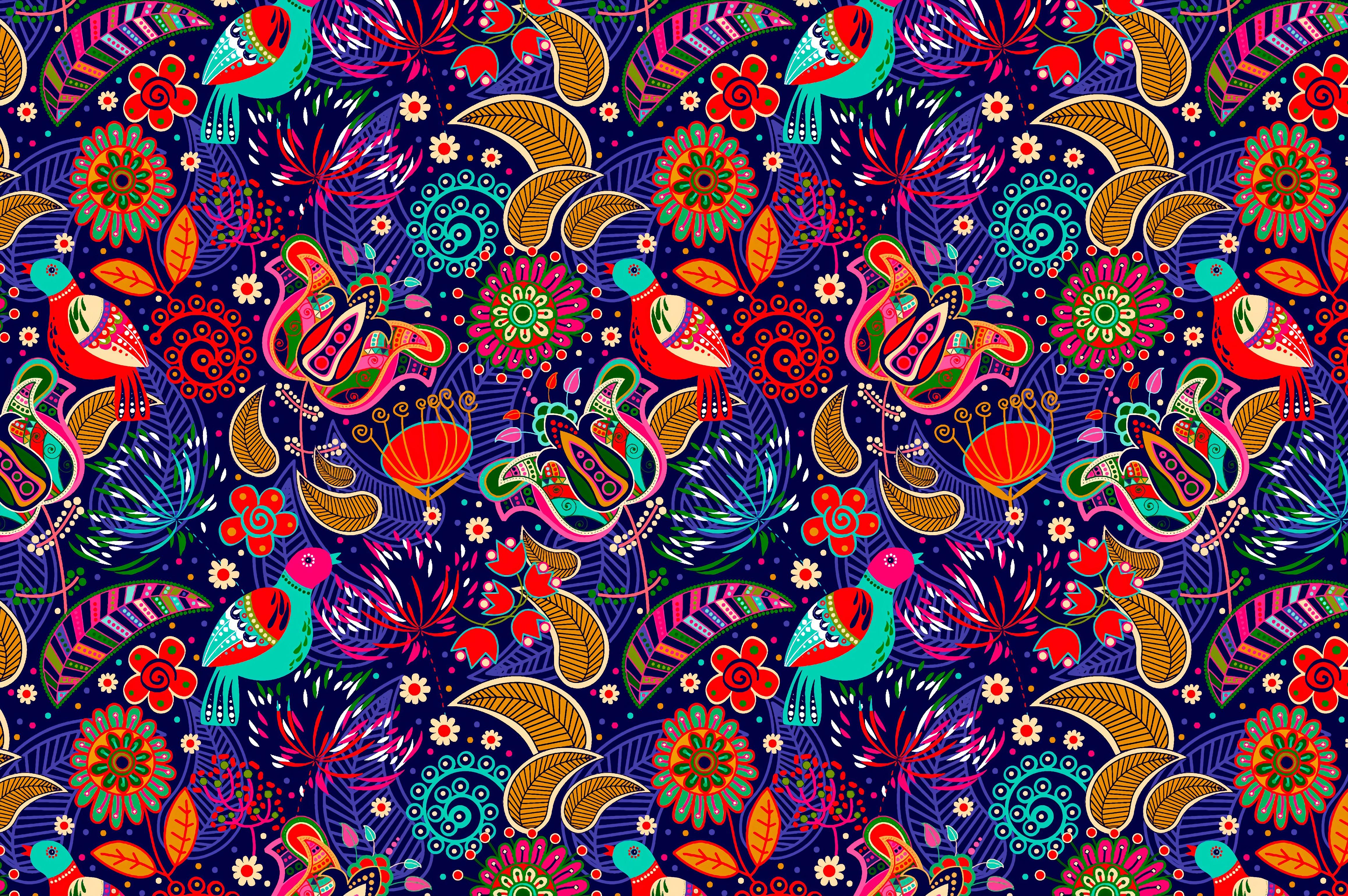 131023 скачать обои Текстуры, Узор, Красочный, Фольклор, Пестрый, Яркий, Цветы, Птицы - заставки и картинки бесплатно