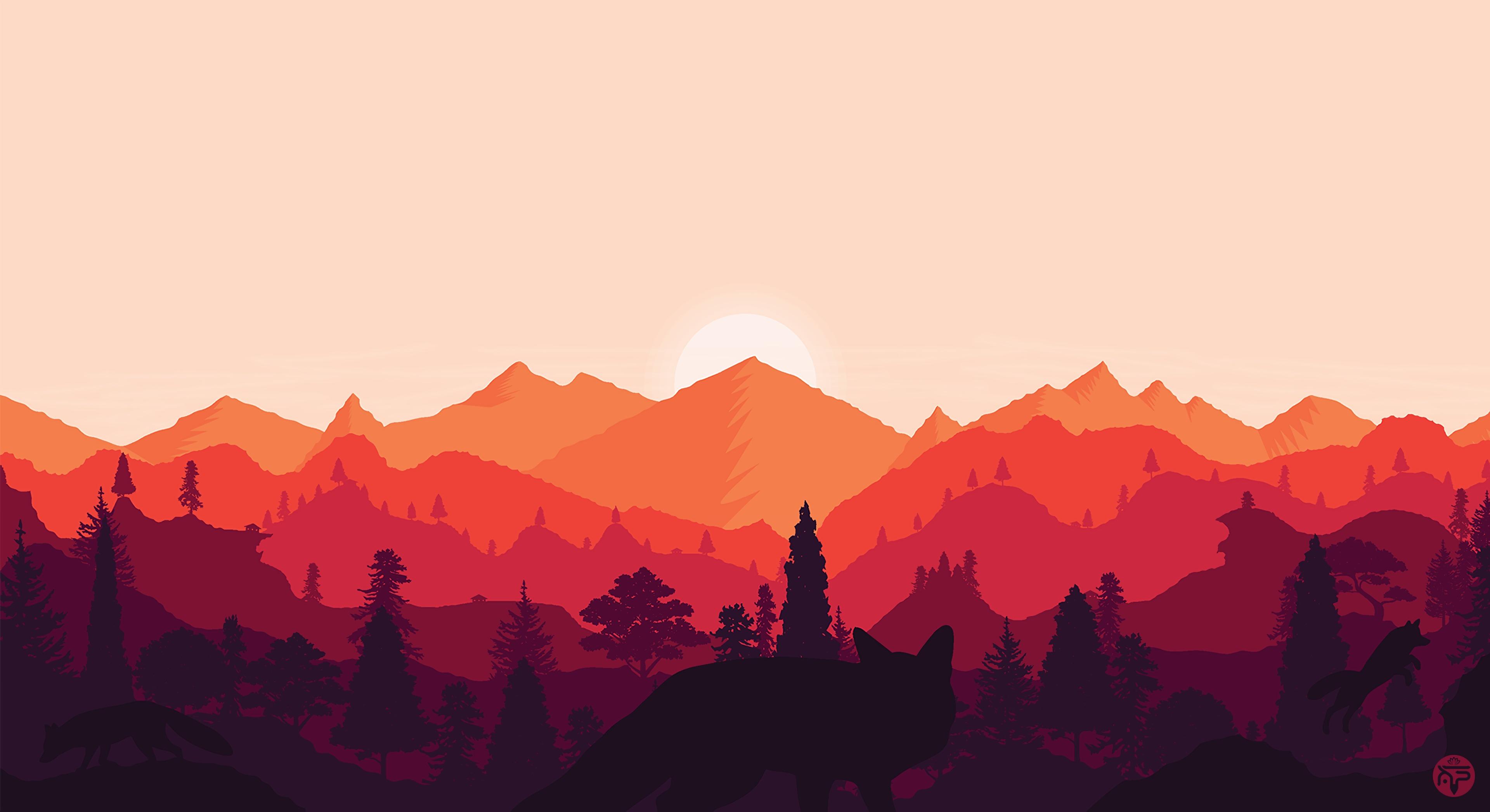 126324 descargar fondo de pantalla Vector, Puesta Del Sol, Arte, Montañas, Paisaje, Zorro: protectores de pantalla e imágenes gratis