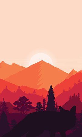 126324 скачать обои Вектор, Закат, Арт, Горы, Пейзаж, Лисы - заставки и картинки бесплатно