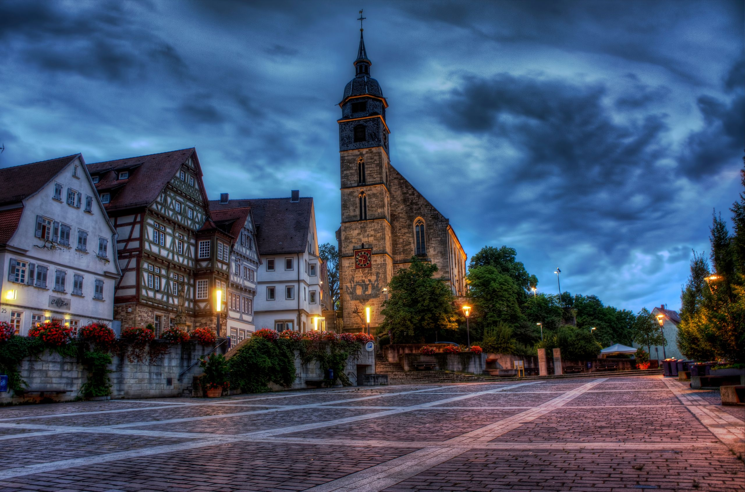 122126 Screensavers and Wallpapers Houses for phone. Download Boeblingen, Beblingen, Germany, Area, Square, Building, Houses, Church, Hdr, Cities, Flowers pictures for free