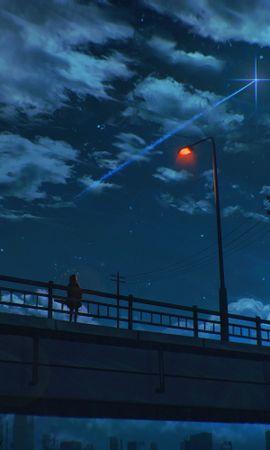92555 Заставки и Обои Ночь на телефон. Скачать Темные, Мост, Одиночество, Арт, Ночь, Небо, Фонарь картинки бесплатно