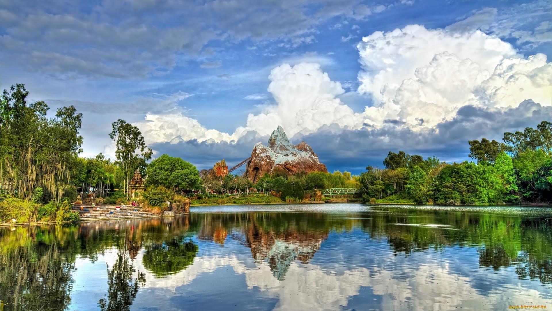 20837 скачать обои Пейзаж, Река, Небо, Горы, Облака - заставки и картинки бесплатно