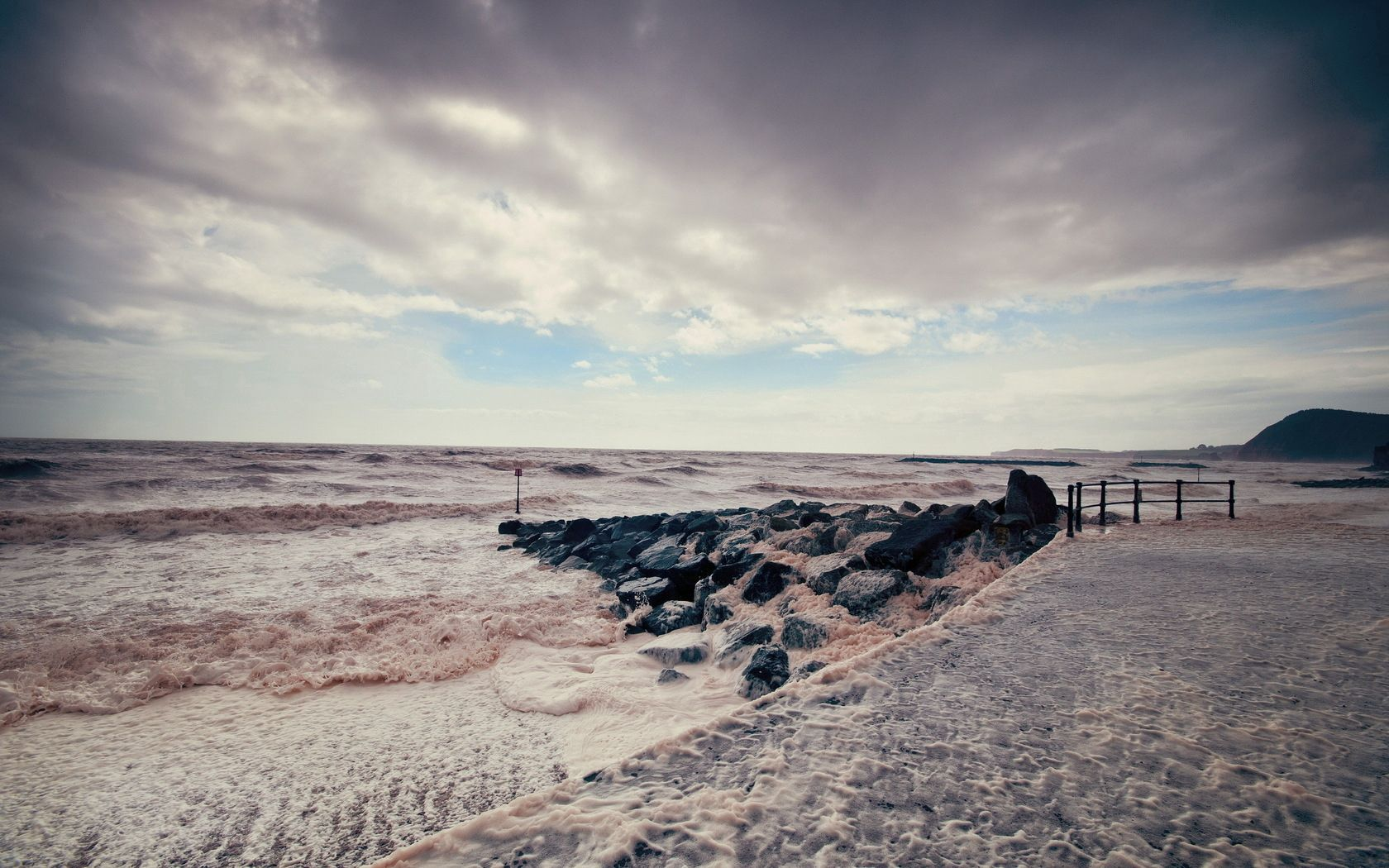 109062 download wallpaper Nature, Sea, Storm, Pier, Water, Stones, Colors, Color screensavers and pictures for free