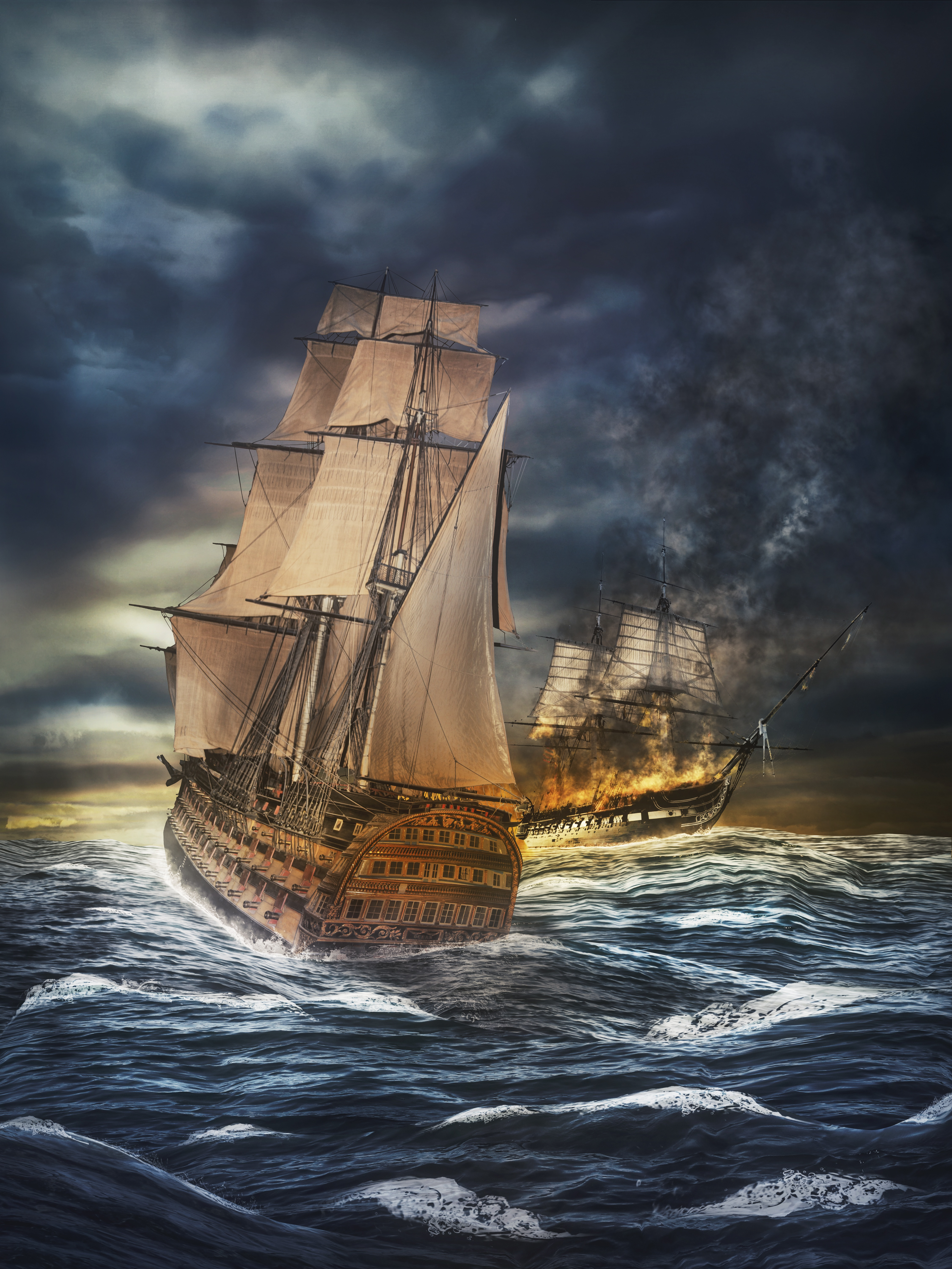 61345 download wallpaper Art, Ships, Sea, Storm, Sea Battle, Battleship, Photoshop screensavers and pictures for free
