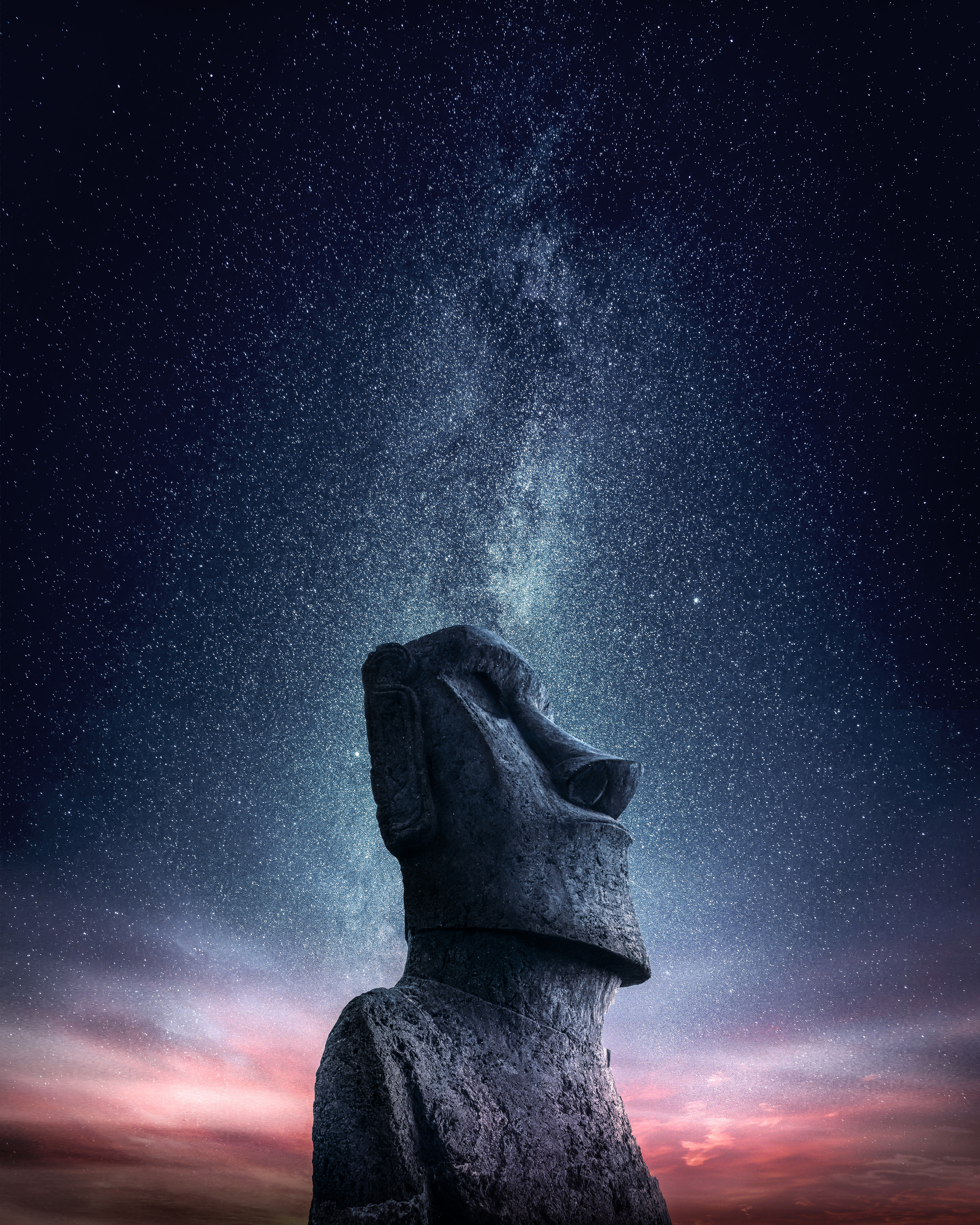 127846 download wallpaper Miscellaneous, Miscellanea, Starry Sky, Statue, Moai, Idol, Easter Straits, Easter Strow screensavers and pictures for free