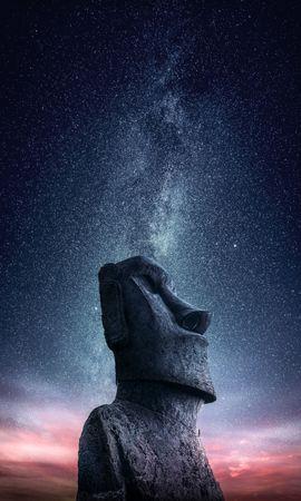 127846 Protetores de tela e papéis de parede Miscelânea em seu telefone. Baixe Miscelânea, Variado, Moai, Uma Estátua, Estátua, Ídolo, Páscoa Strow, Estreitos Da Páscoa, Céu Estrelado fotos gratuitamente