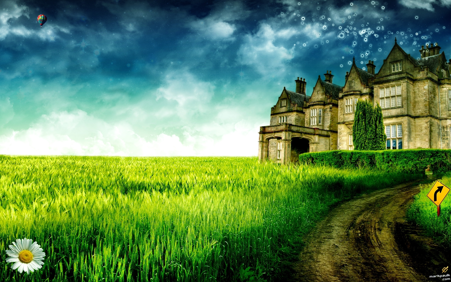 1658 download wallpaper Landscape, Houses, Grass, Sky, Art, Architecture screensavers and pictures for free