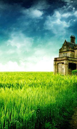 1658 скачать обои Пейзаж, Дома, Трава, Небо, Арт, Архитектура - заставки и картинки бесплатно