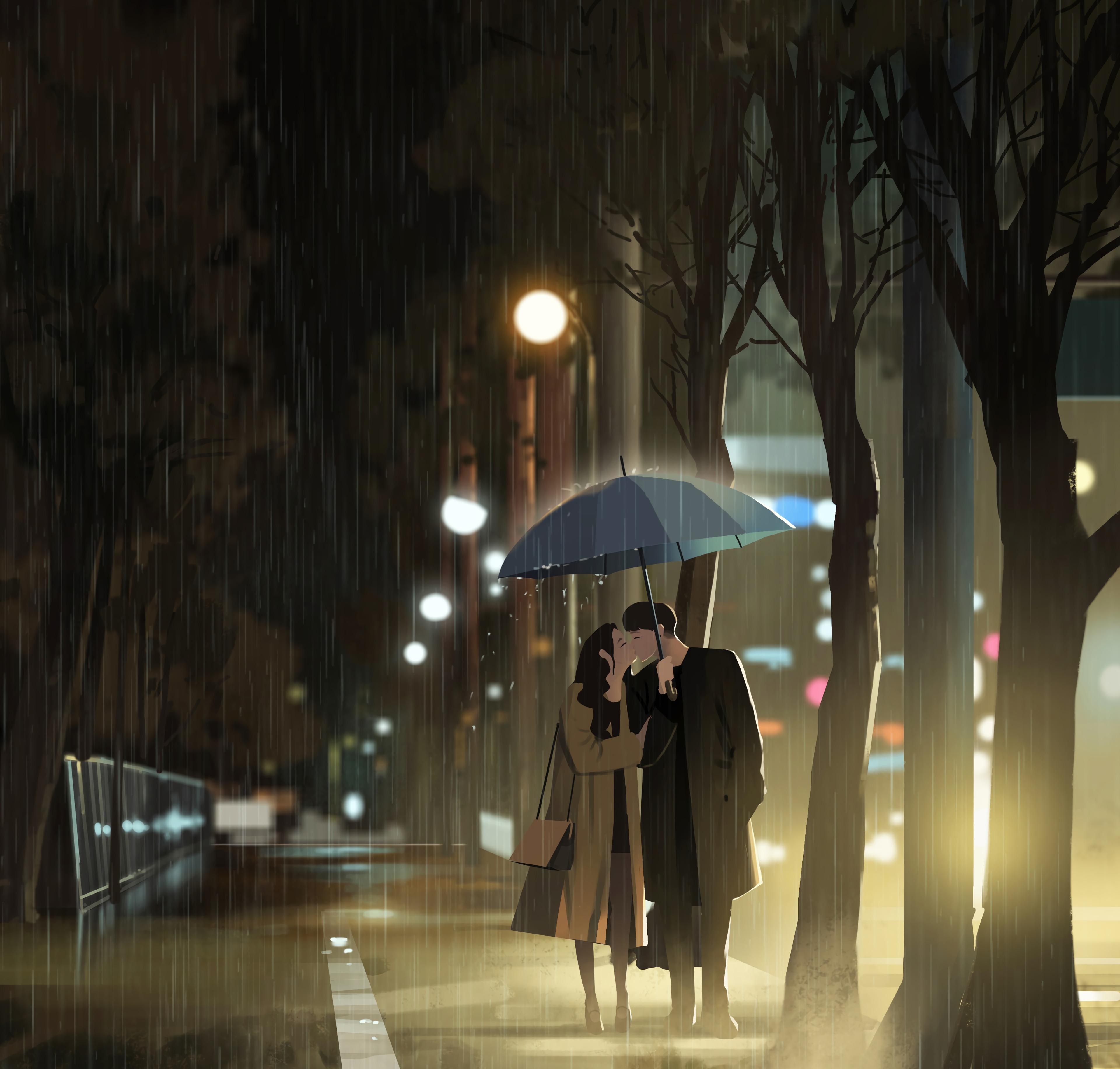 140300 Заставки и Обои Любовь на телефон. Скачать Любовь, Поцелуй, Дождь, Арт картинки бесплатно