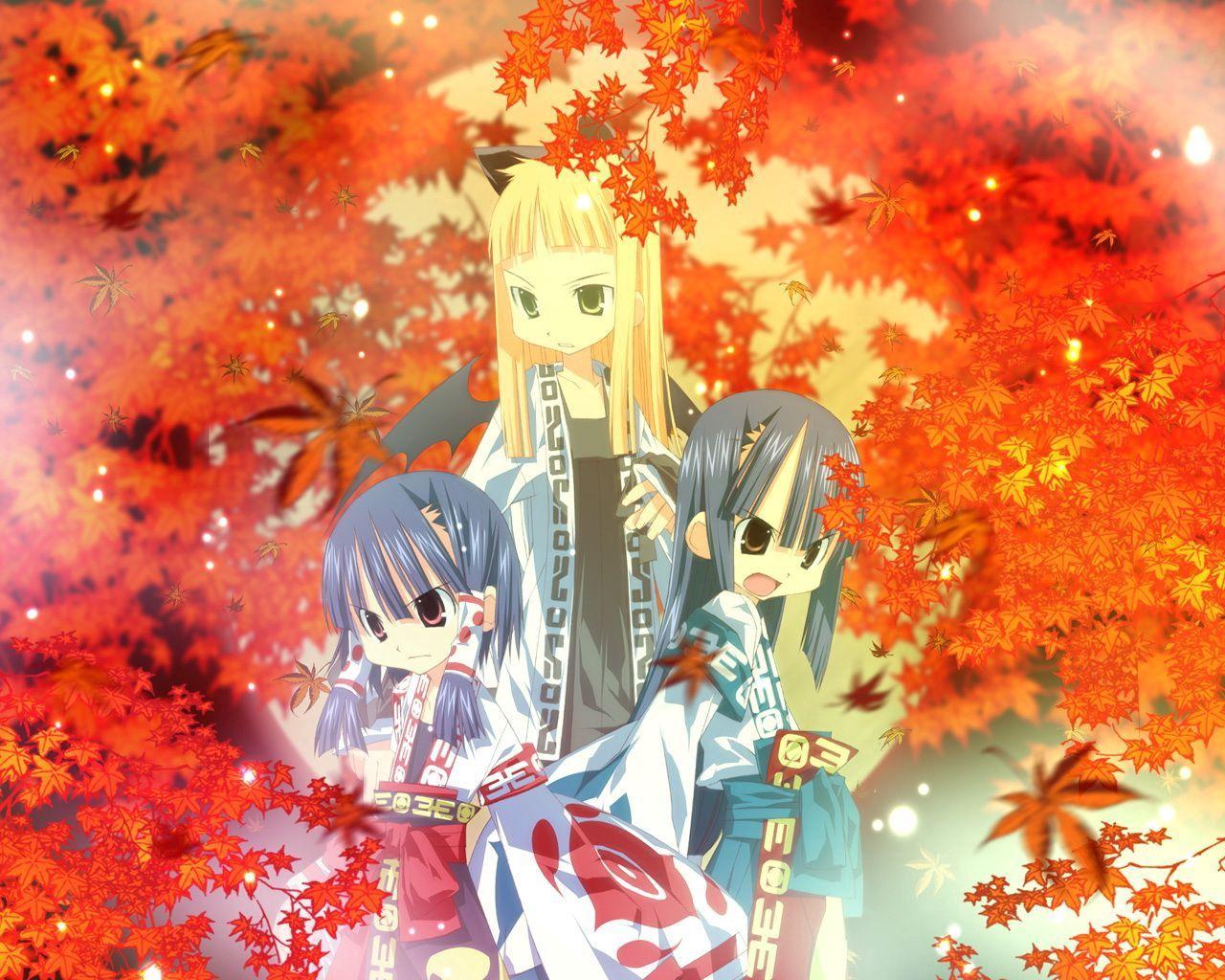 105145壁紙のダウンロード日本製アニメ, 女の子, 着物, 秋-スクリーンセーバーと写真を無料で