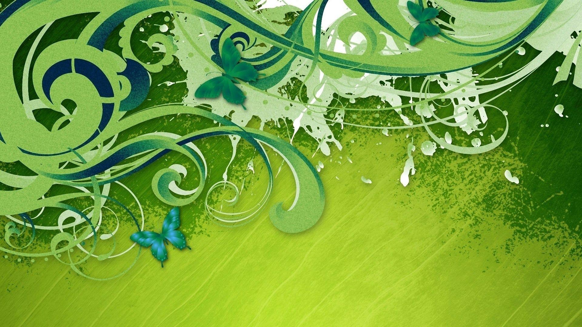 106177 скачать обои Абстракция, Завитки, Зеленый Фон, Краска, Полосы, Бабочки - заставки и картинки бесплатно