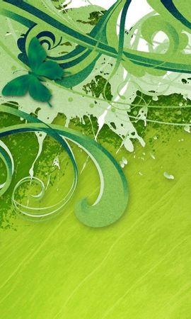 106177 descargar fondo de pantalla Abstracción, Chinos, Rizos, Fondo Verde, Pintura, Pintar, Rayas, Mariposas: protectores de pantalla e imágenes gratis