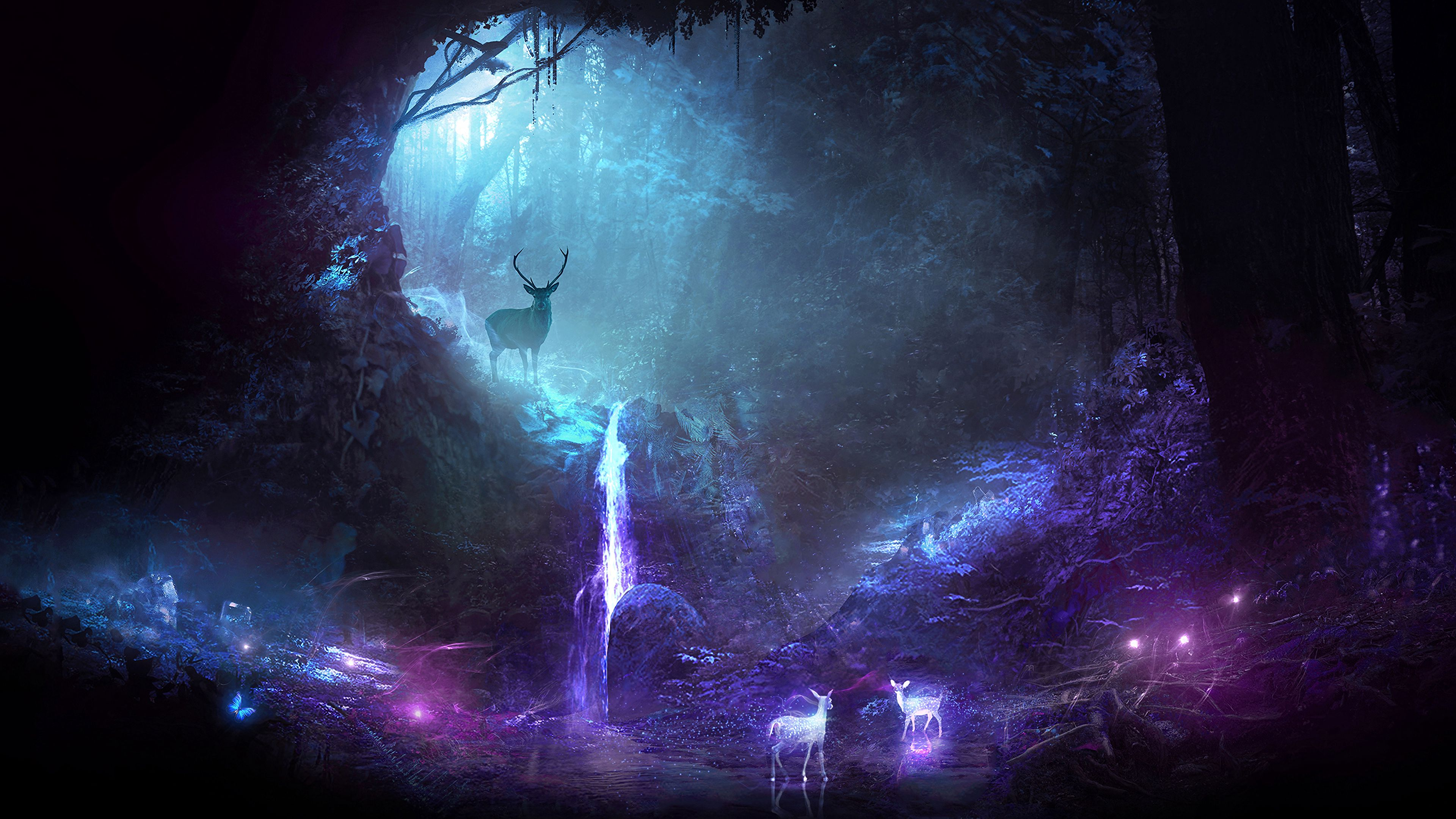 106643 download wallpaper Art, Forest, Deer, Cave, Shining screensavers and pictures for free