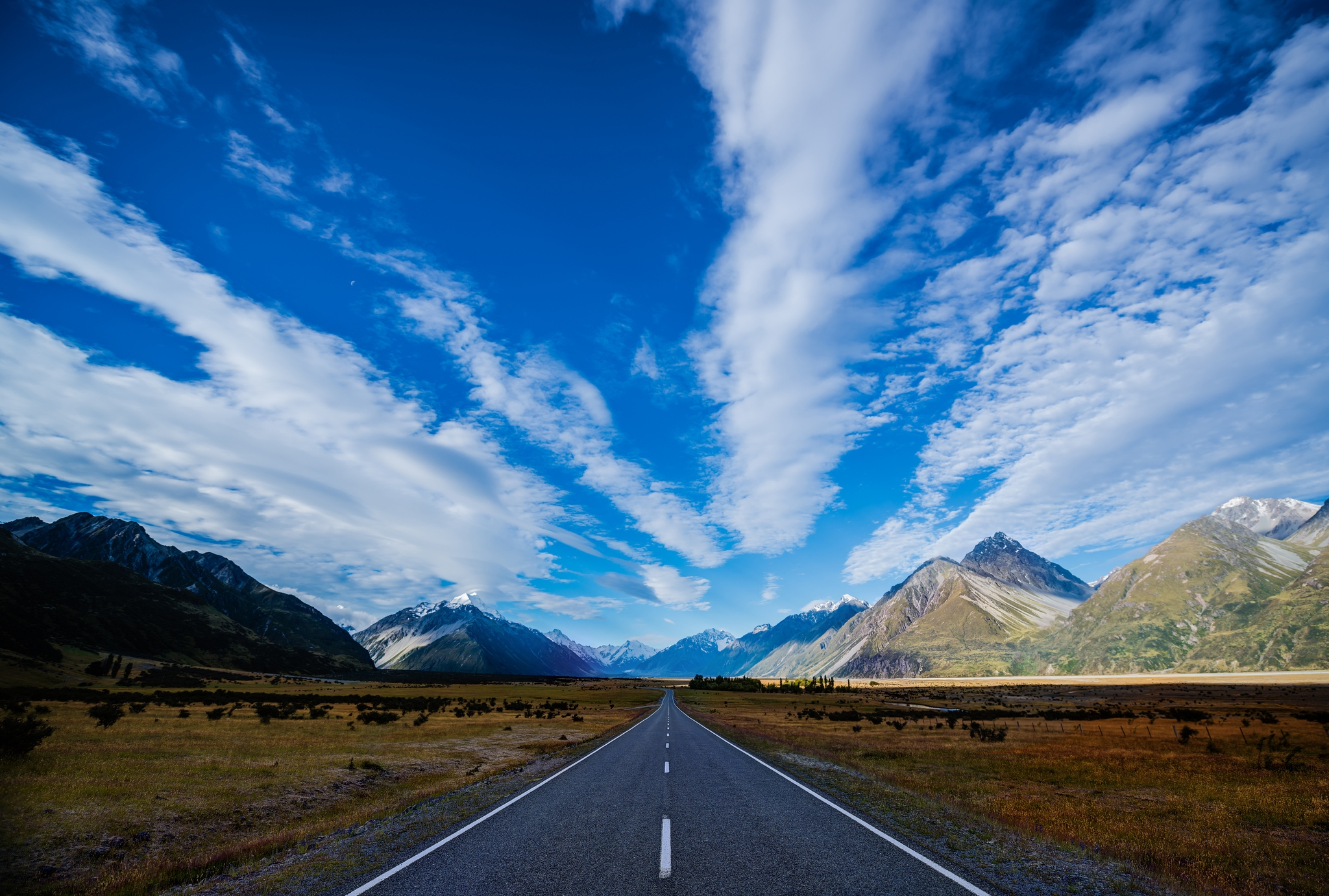 60080 Screensavers and Wallpapers New Zealand for phone. Download Nature, Sky, Mountains, Clouds, New Zealand, Road, Track, Route, Highway pictures for free