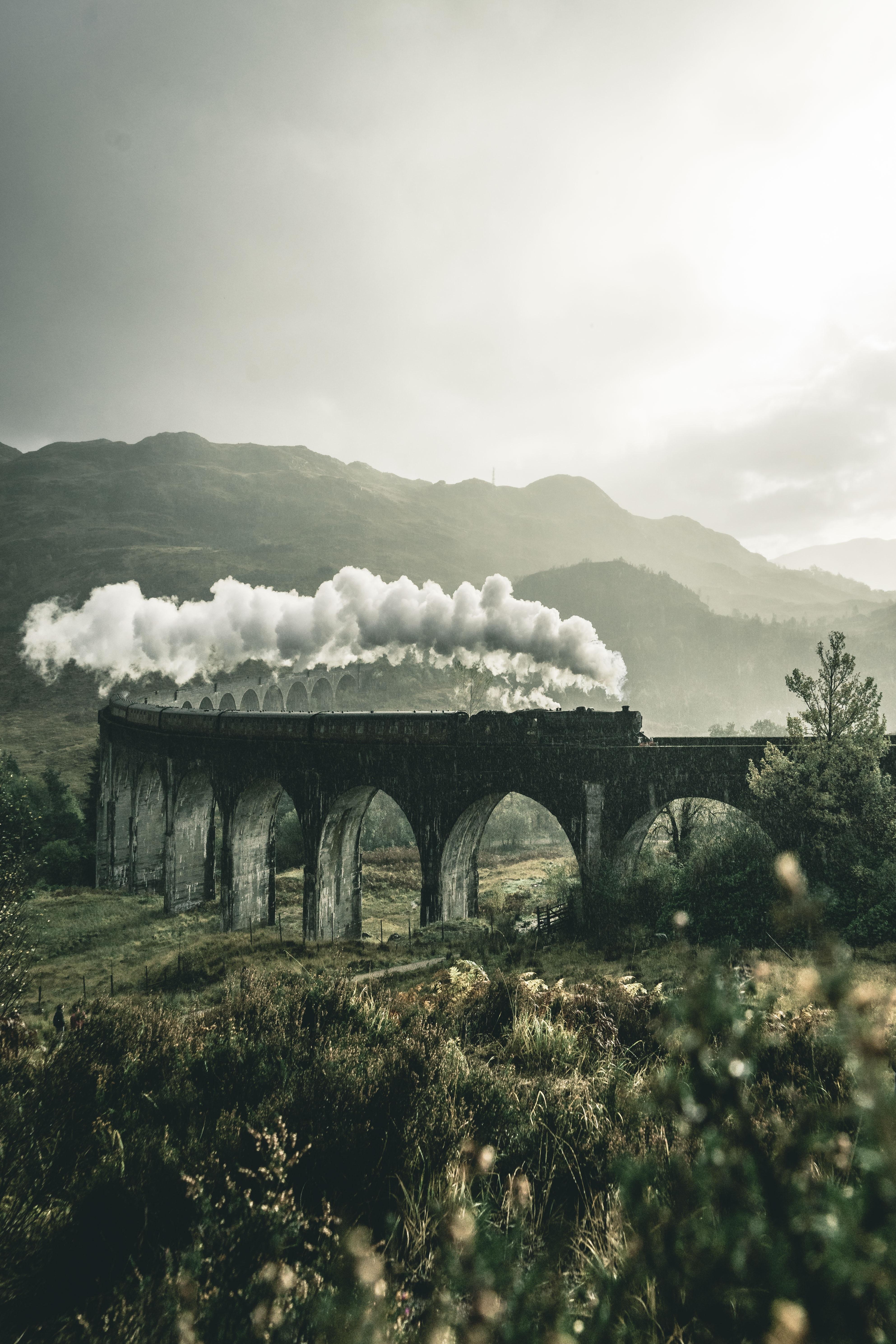 85281 Protetores de tela e papéis de parede Montanhas em seu telefone. Baixe Natureza, Montanhas, Fumar, Ponte, Estrada De Ferro, Ferrovia, Um Trem, Trem, Grã Bretanha, Reino Unido, Viaduto, Glenfinnan fotos gratuitamente