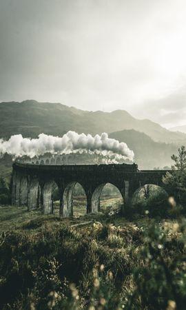 85281壁紙のダウンロード自然, 電車, 列車, 鉄道, ブリッジ, 橋, グレンフィナン, 高架橋, グレートブリテン, 英国, 山脈, 煙-スクリーンセーバーと写真を無料で