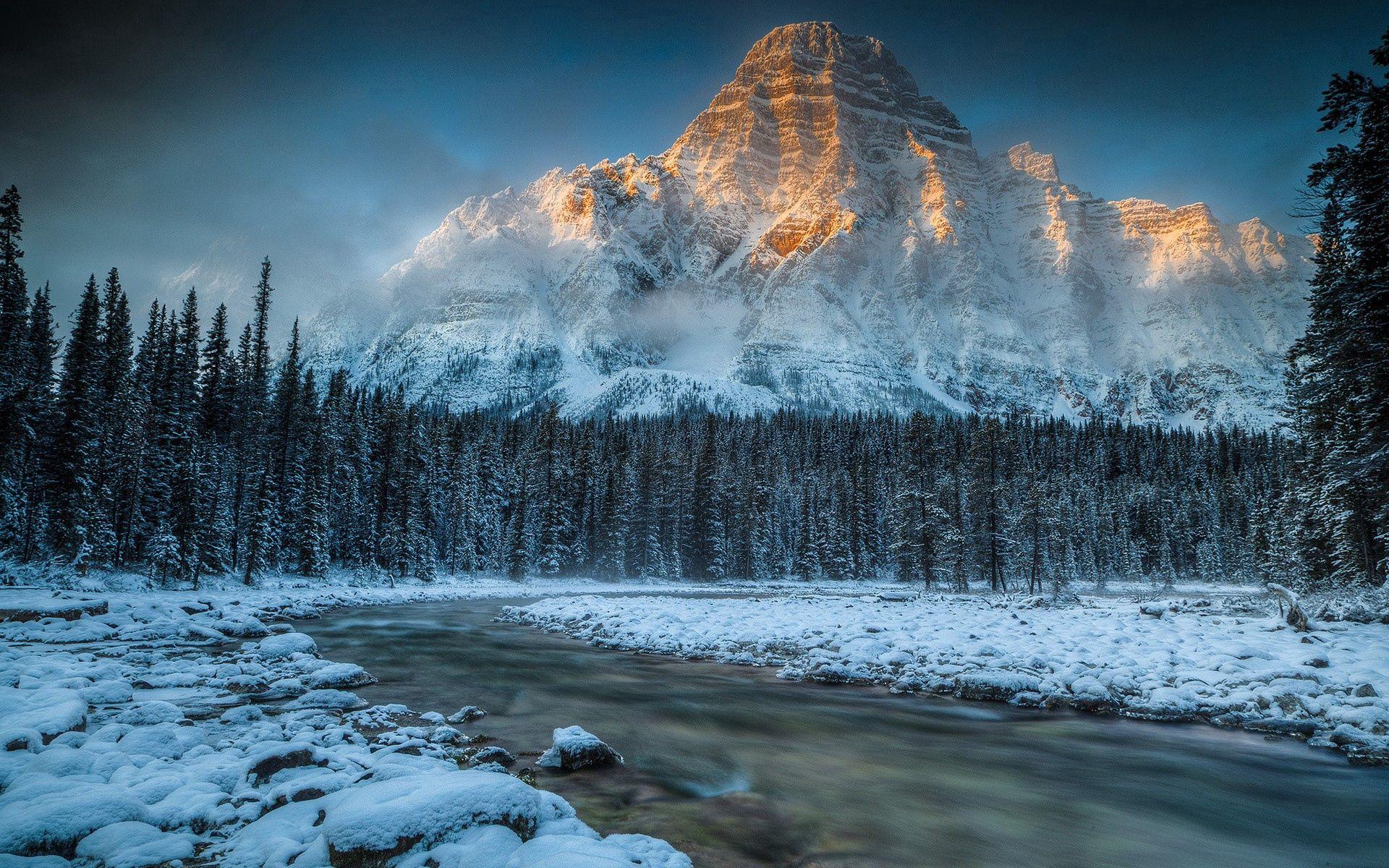 109873 скачать обои Горы, Природа, Река, Снег - заставки и картинки бесплатно