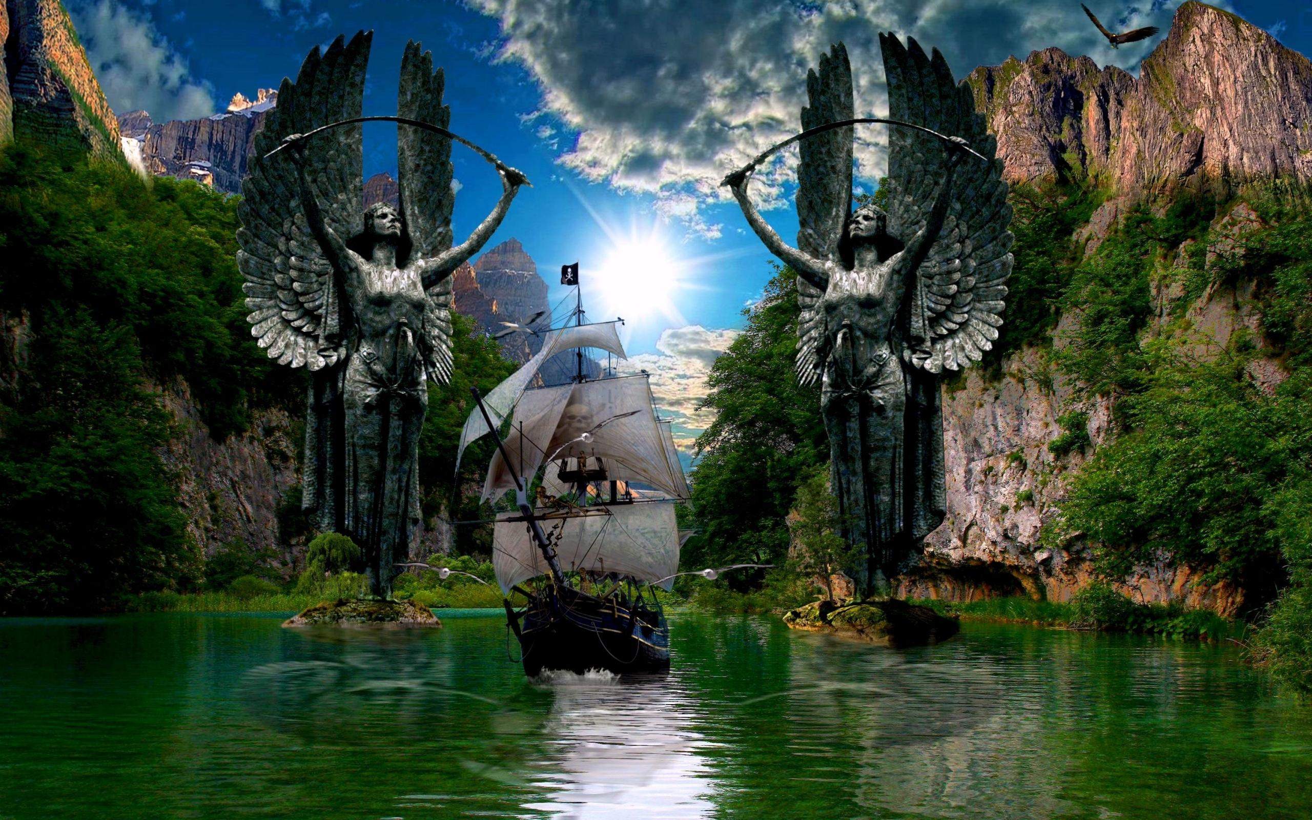 25206 Hintergrundbild herunterladen Fantasie, Landschaft, Transport, Schiffe, Sea, Sun, Clouds - Bildschirmschoner und Bilder kostenlos