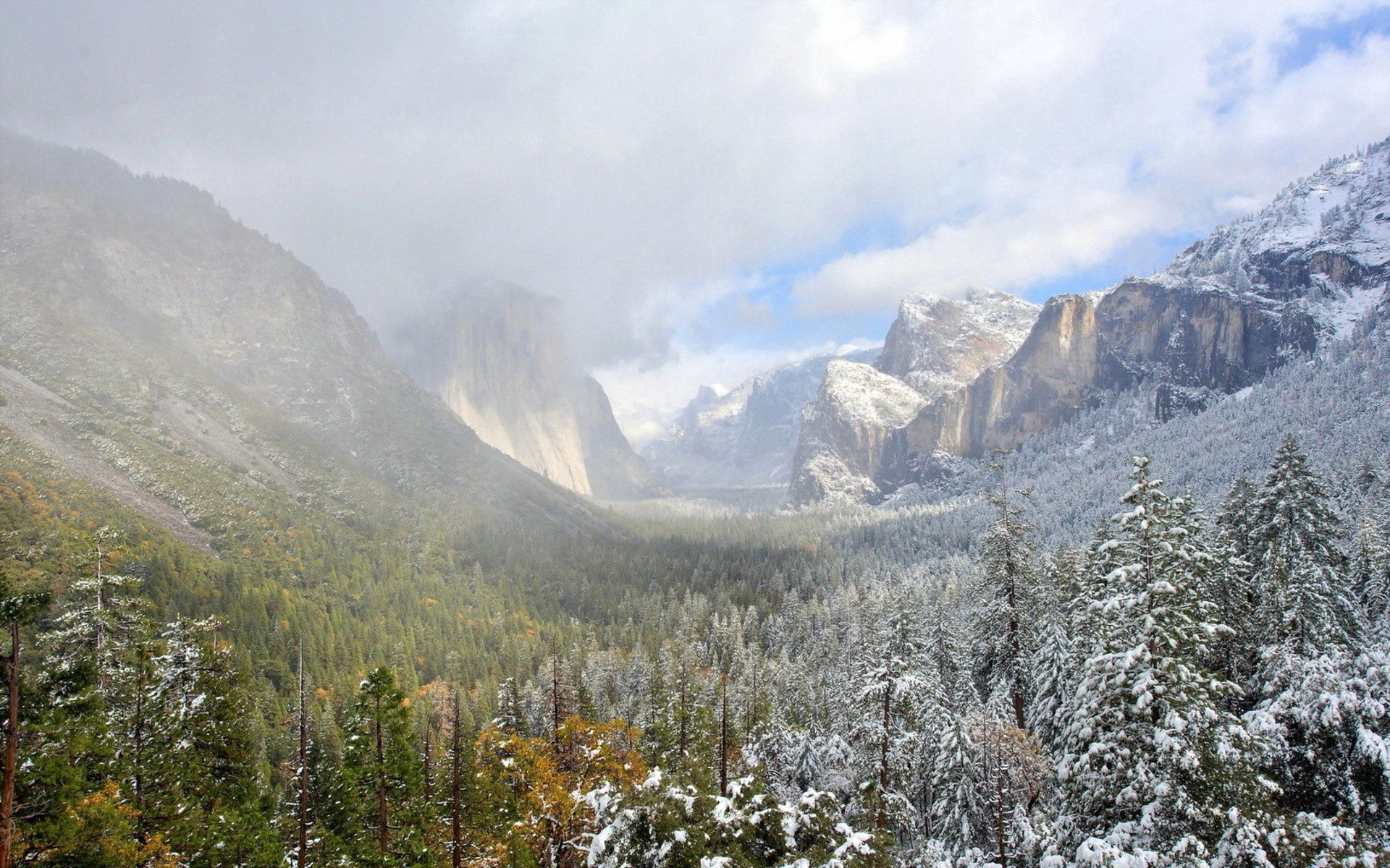 56676 download wallpaper Nature, Valley, Grass, Snow, Mountains screensavers and pictures for free