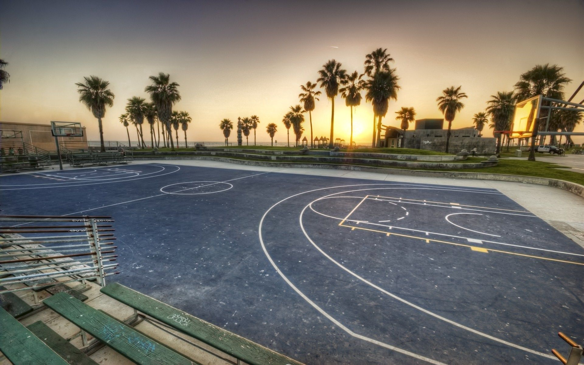 91204 Screensavers and Wallpapers Basketball for phone. Download Nature, Los Angeles, California, Evening, Playground, Platform, Basketball, Markup, Palms pictures for free