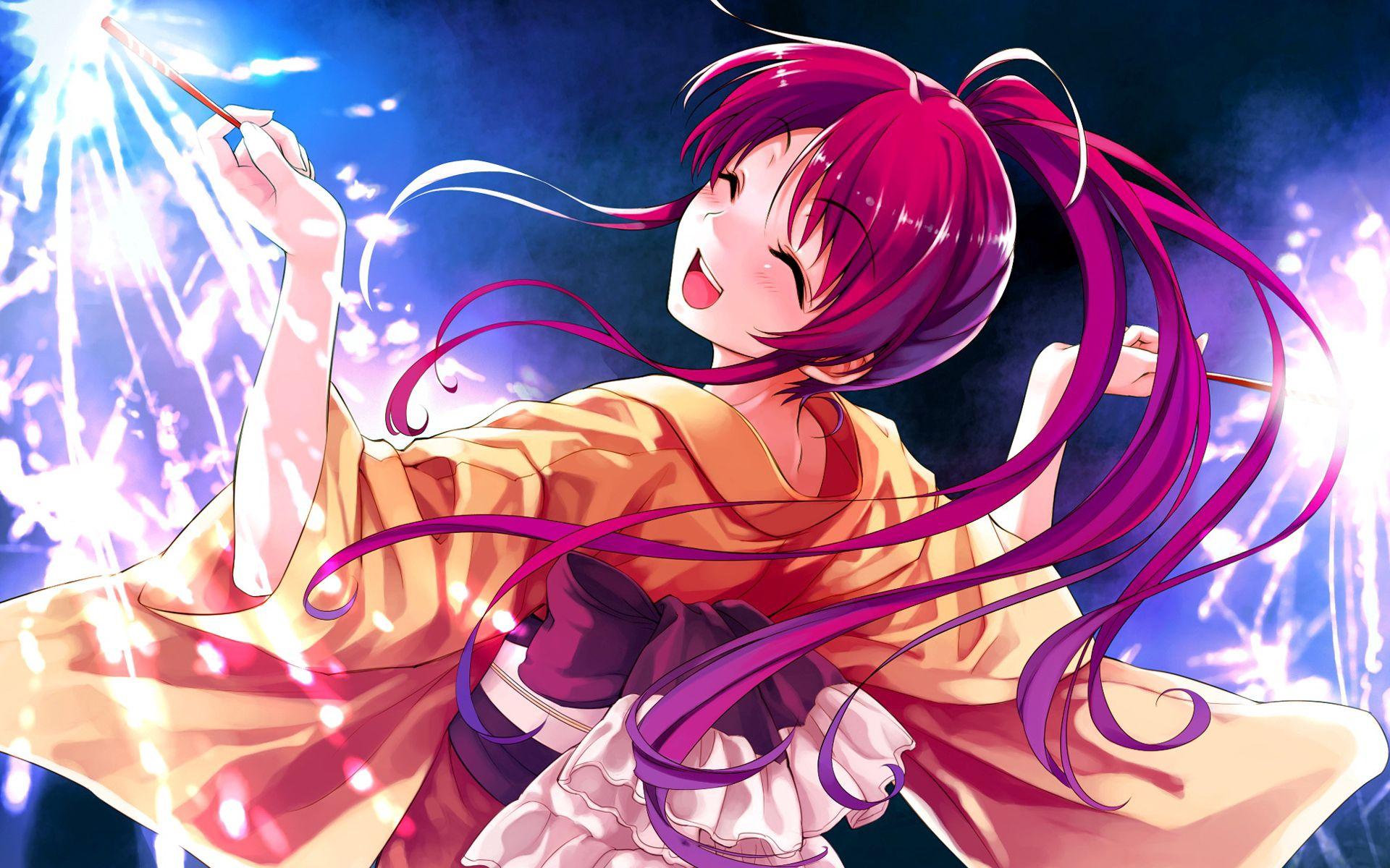 63316壁紙のダウンロード日本製アニメ, 女の子, ヘア, 毛, 赤い, 着物, ライト-スクリーンセーバーと写真を無料で