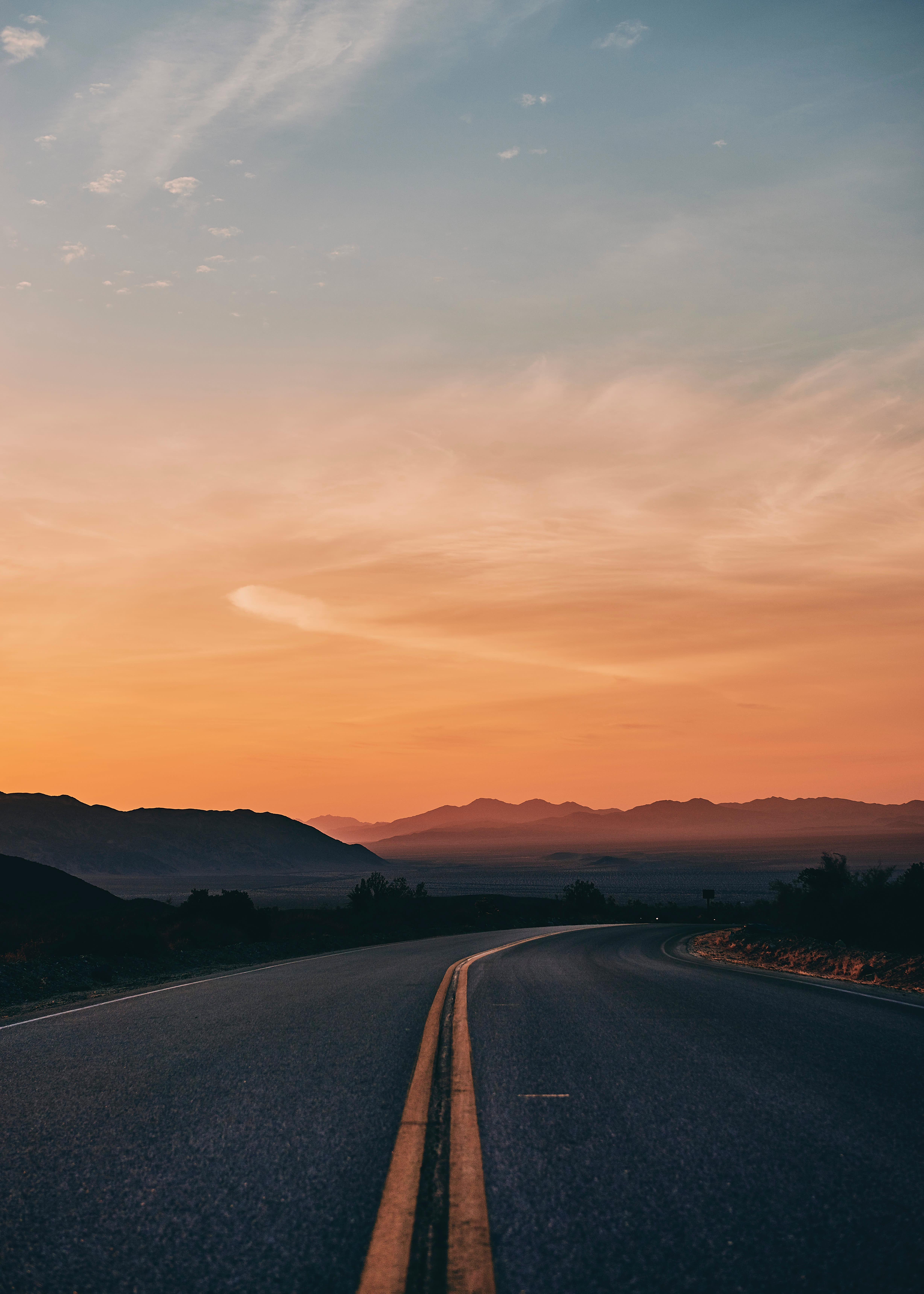 147744 Screensavers and Wallpapers Road for phone. Download Nature, Sunset, Horizon, Road, Turn, Markup, Asphalt pictures for free