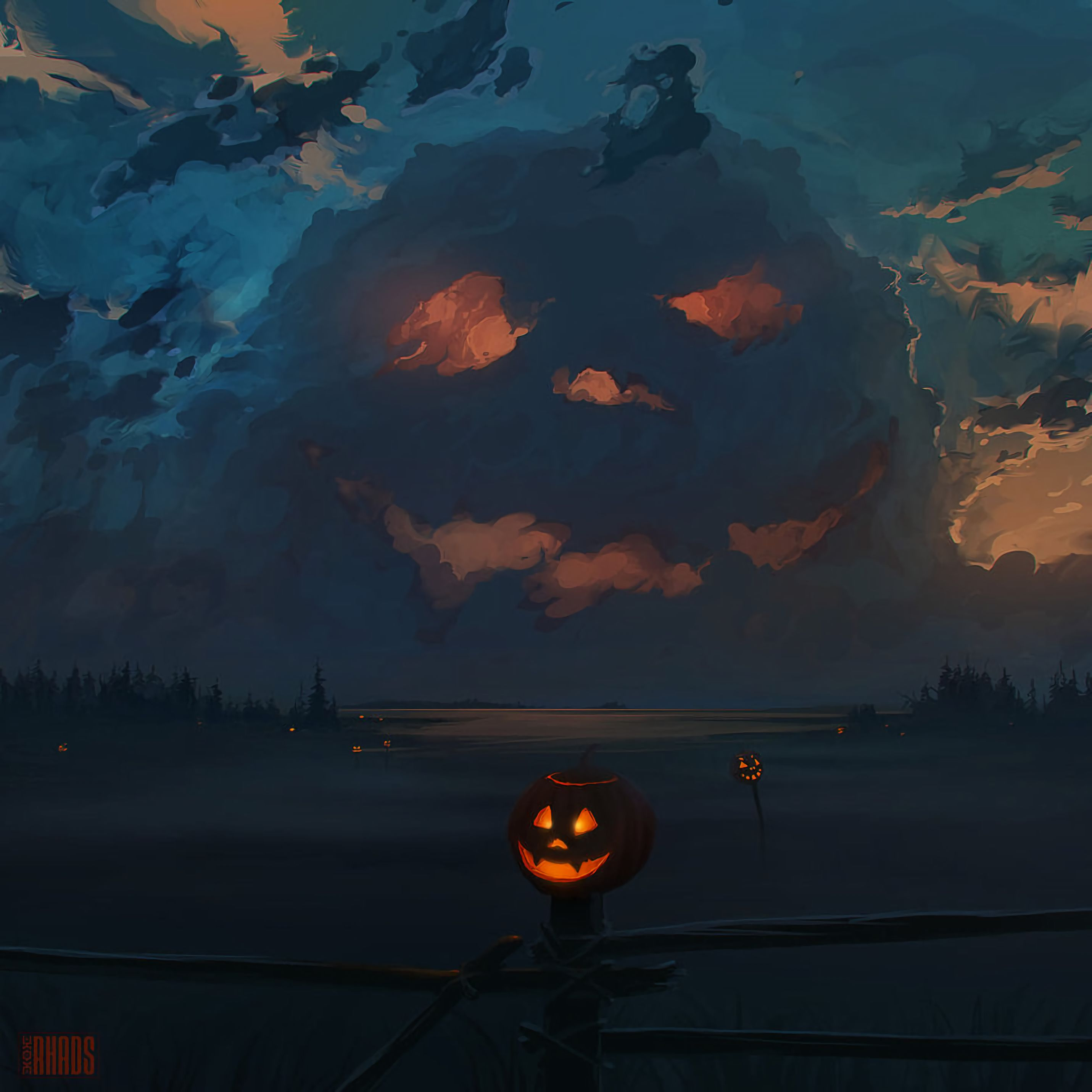 54517 download wallpaper Holidays, Jack Lamp, Jack's Lamp, Pumpkin, Halloween, Art, Clouds screensavers and pictures for free