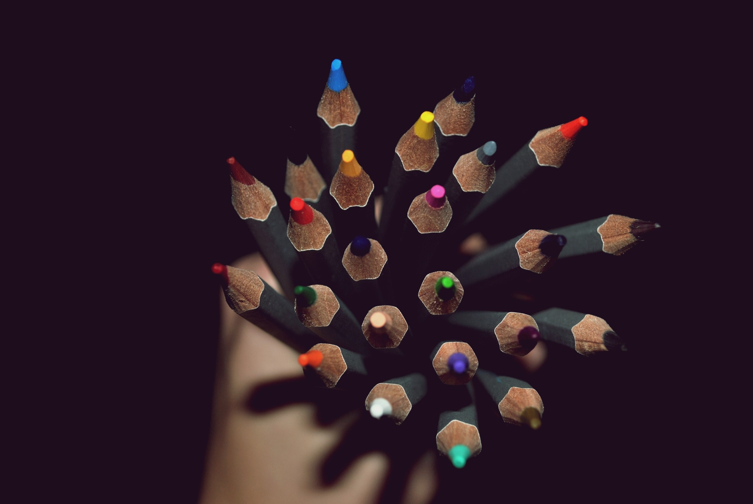 149230 download wallpaper Hand, Miscellanea, Miscellaneous, Shadow, Colored Pencils, Colour Pencils screensavers and pictures for free