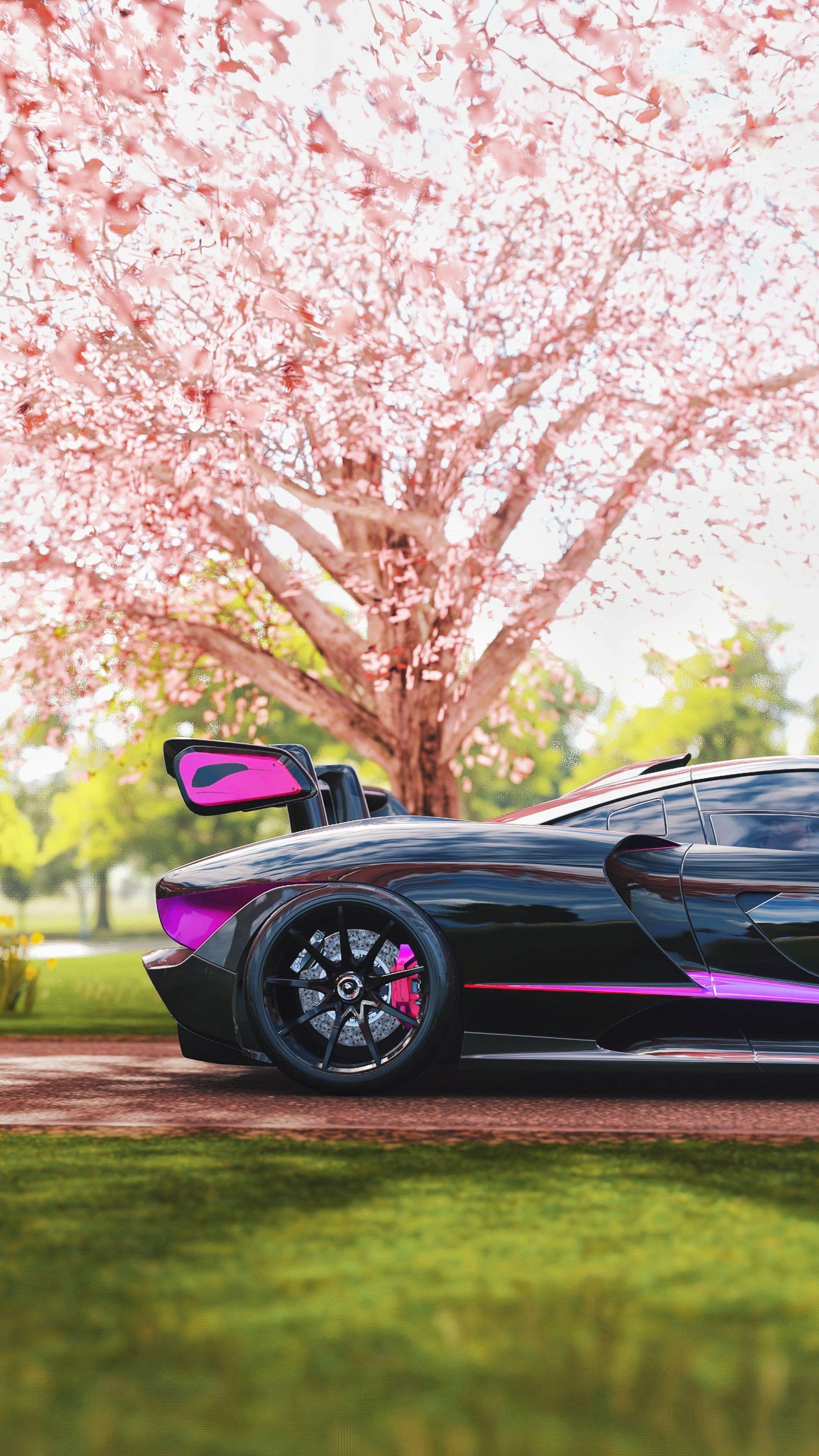 90595 Screensavers and Wallpapers Sakura for phone. Download Sports, Races, Mclaren, Sakura, Cars, Sports Car, Side View, Mclaren Senna pictures for free